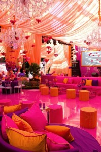 orange and pink wedding lounge