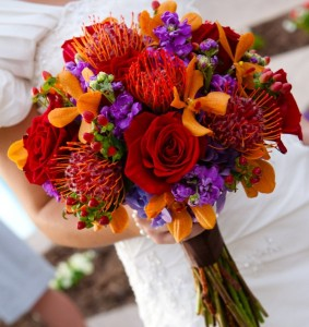 orange purple red bouquet