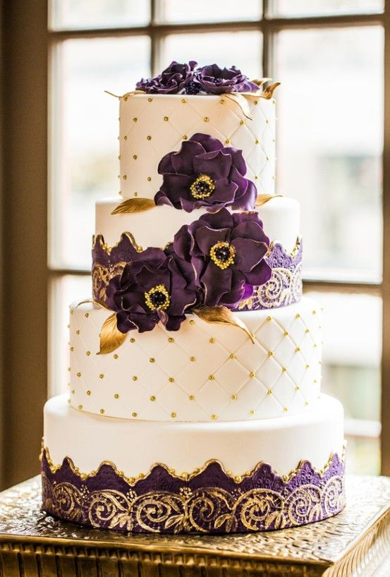 Purple And Gold Wedding.Purple And Gold Wedding Cake Elite Wedding And Event Planning