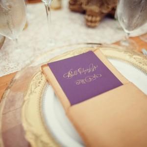 purple gold wedding menu