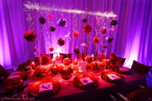 red purple orange wedding decor