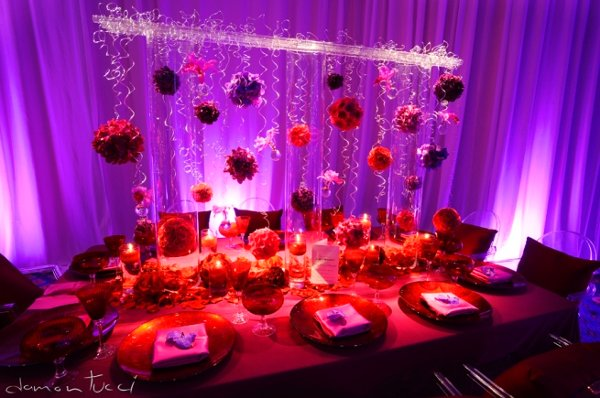 red purple orange wedding decor - Elite Wedding and Event Planning