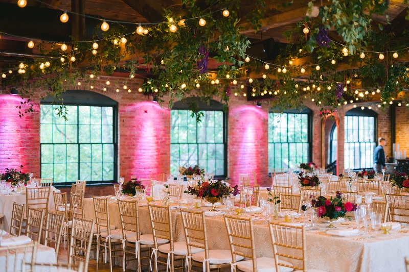 wedding reception with hanging greenery-2