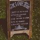 love story chalkboard sign