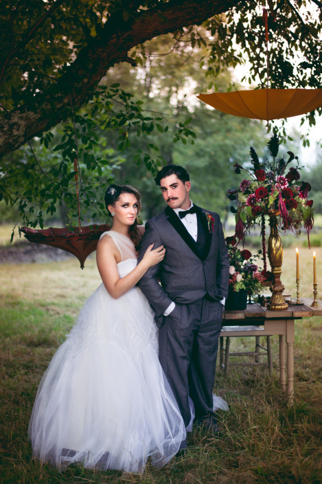 bride and groom vintage circus styled tablescape