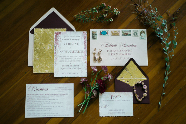 marsala and gold wedding invitation suite