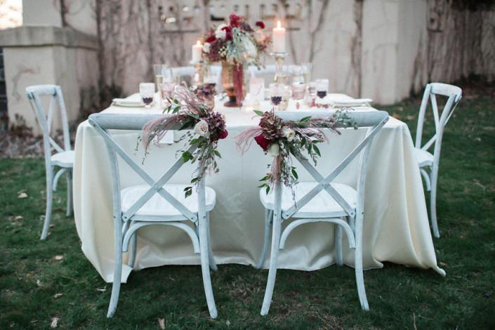 floral chair arrangement - crossback chairs