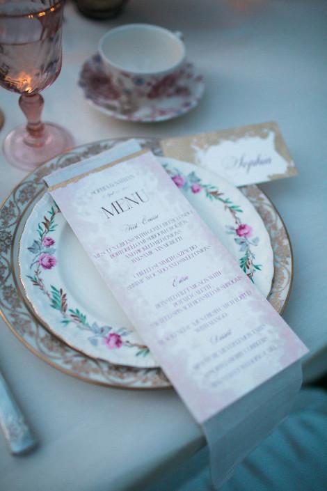 blush and marsala wedding menu