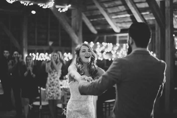 bride and groom dancing - mount gulian barn wedding