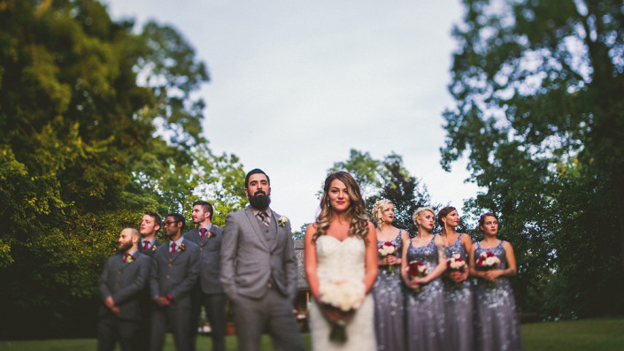 bridal party - mount Gulian - barn wedding