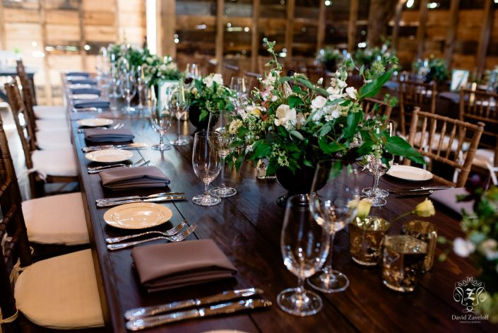 farm tables - ferns and flowers