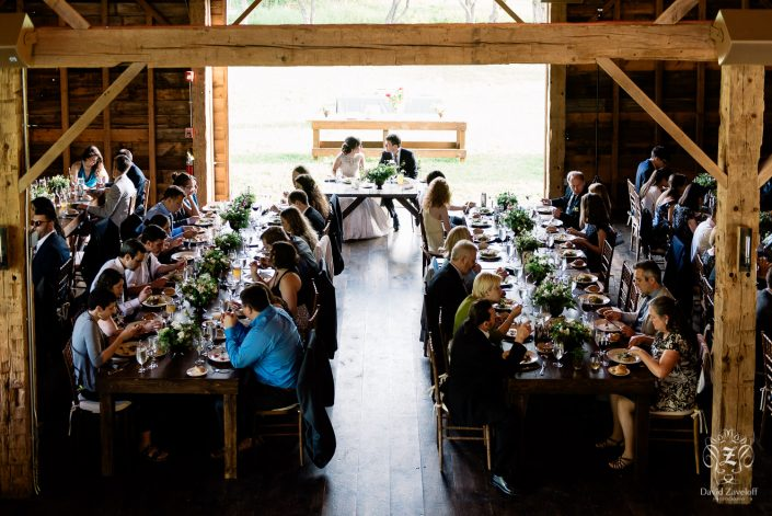farm tables reception in the barn - handsome hollow