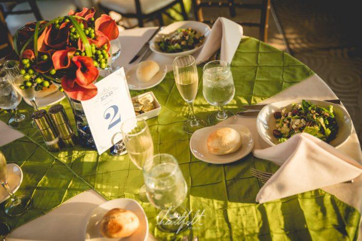 green table linens - niece