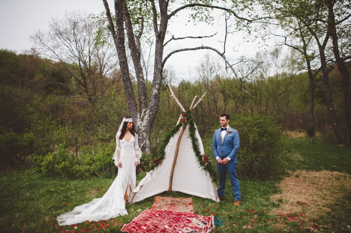 boho teepee ceremony - handsome hollow