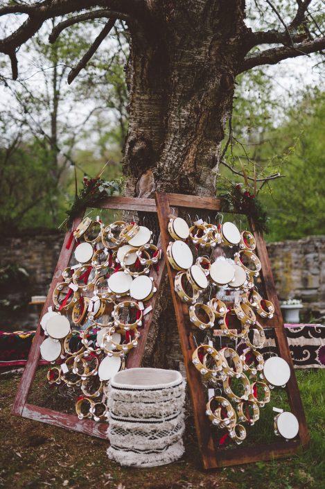 tambourine escort cards - handsome hollow