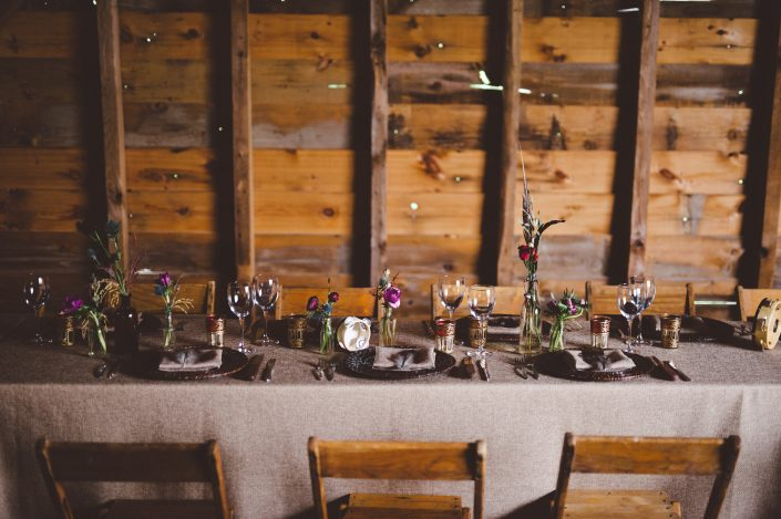 farm tables wedding reception - handsome hollow