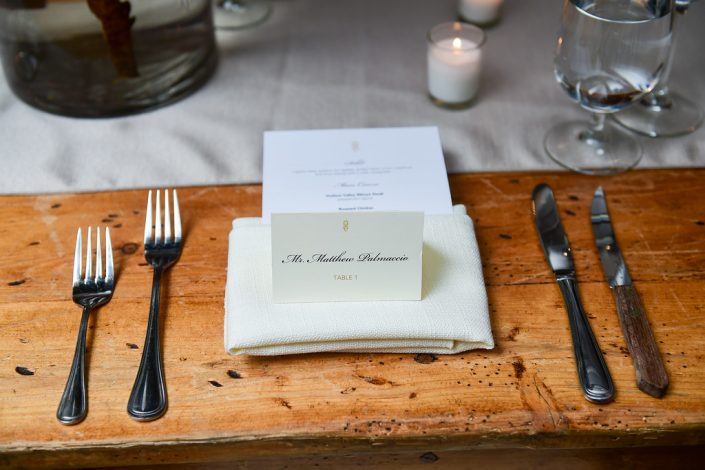 place setting - senate garage wedding