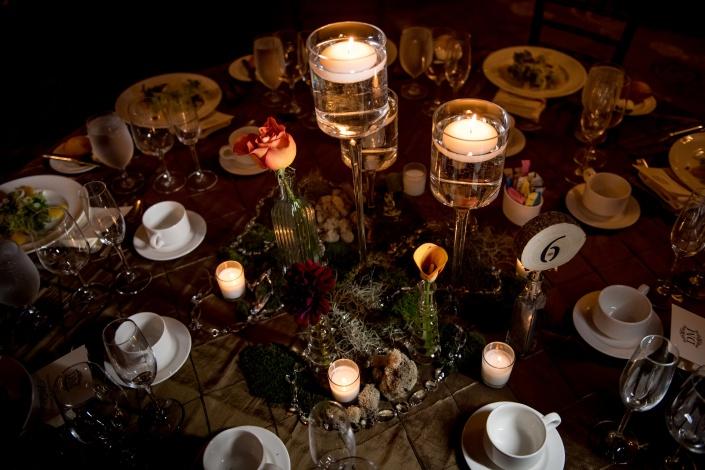 candle centerpiece - fall wedding- diamond mills