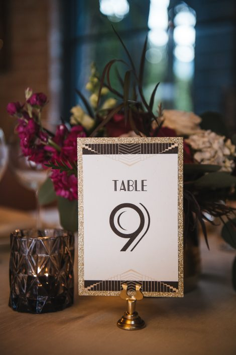 glitter table number - hudson ny wedding