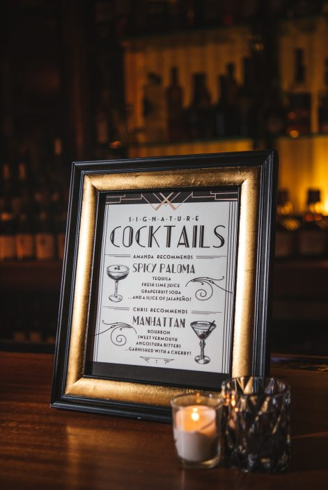 cocktails signage - hudson ny wedding