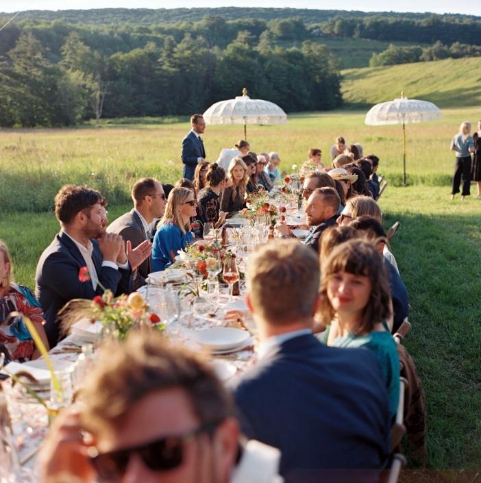 outdoor dining - hayfield Catskills