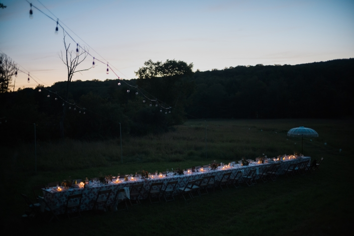 sunset outdoor dining - Hudson Valley ny wedding