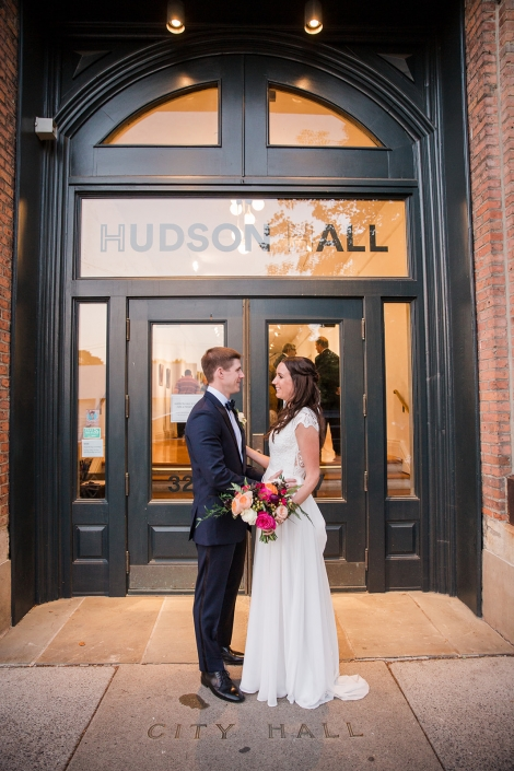 front doors of Hudson hall