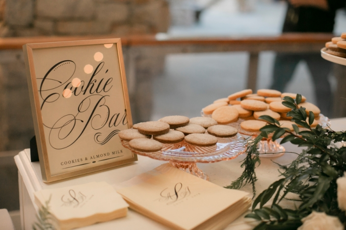 vegan cookies and milk station - wedding at mohonk