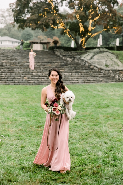 wedding puppy and bridesmaid