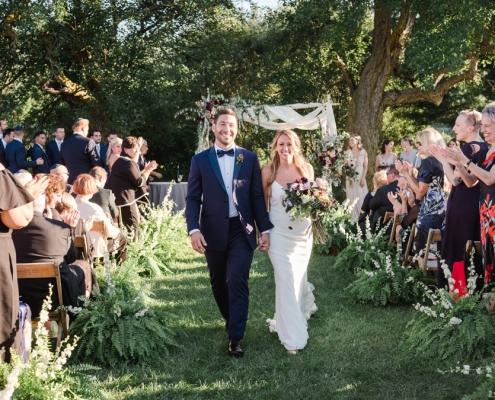 hayfield Catskills barn wedding ceremony huppah at Hayfield