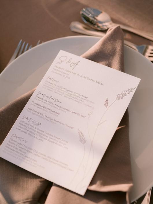 menu card at wedding reception