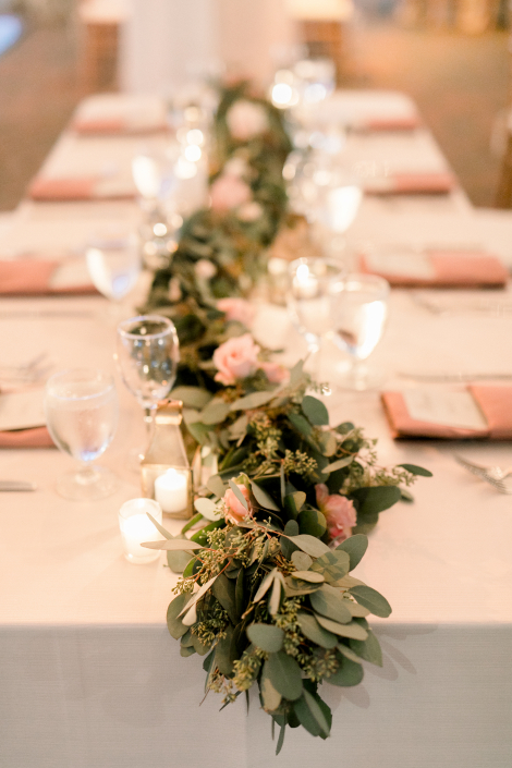 table flowers and greenery