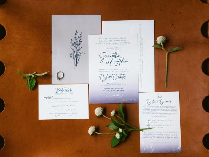 custom wedding invitation - hayfield barn