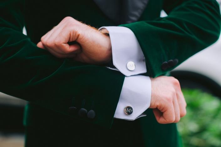 cuff links - green velvet tux