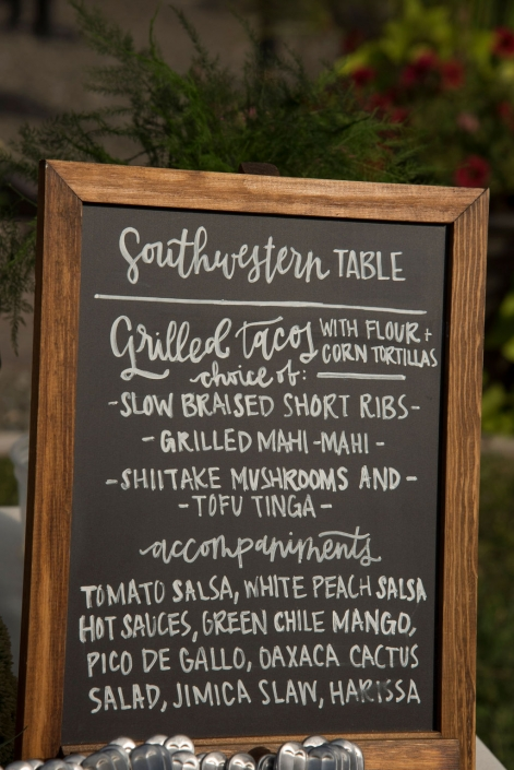 food sign - vineyard wedding