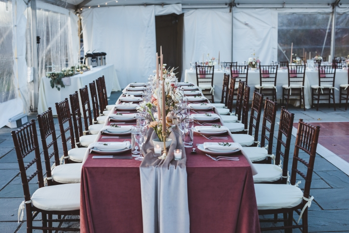 velvet linens at Catskills wedding
