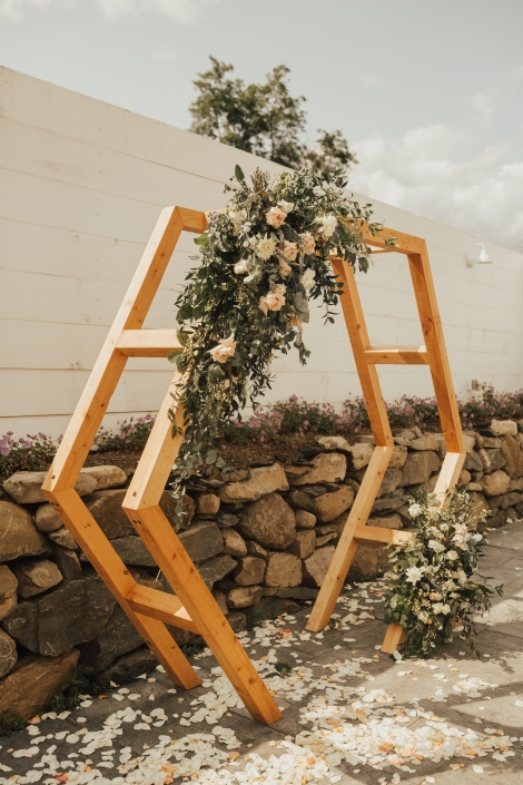 hexagon ceremony backdrop - Audrey's Farmhouse