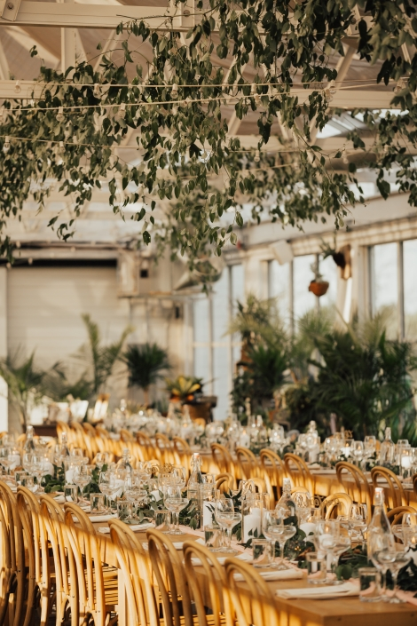 greenery hanging from ceiling - wedding at Audrey's farmhouse