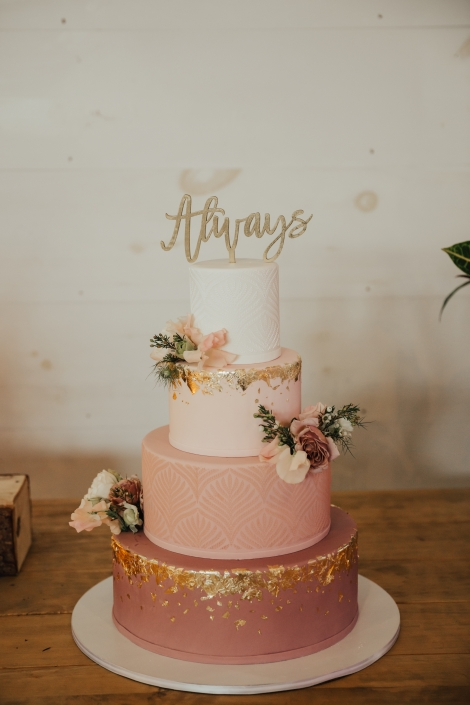 blush wedding cake - lovely cakes ct