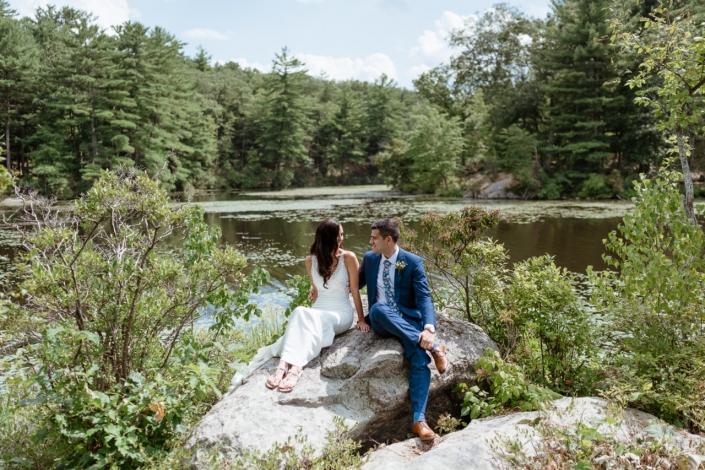bride and groom at the lake - arrow park, Monroe, NY