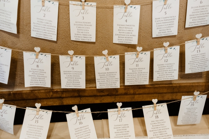escort card chart wedding at arrow park