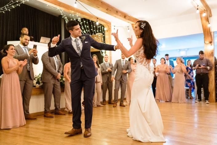 bride and groom dancing - arrow park