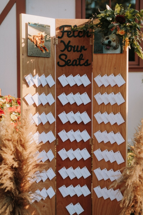 escort card board Preston barn
