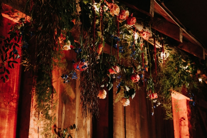 hanging flowers at the Preston Barn