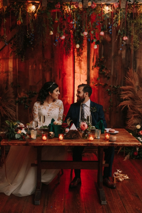 sweetheart table - Preston barn wedding