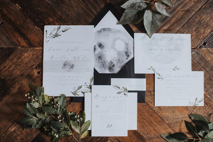 full moon tuscan wedding invitation
