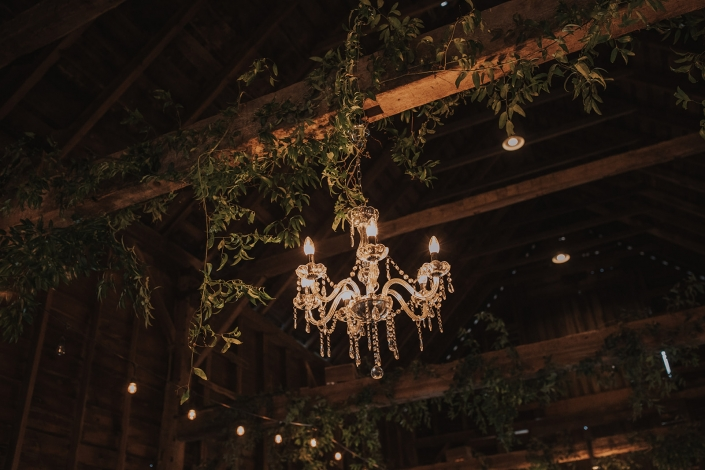 chandelier in the barn at crested hen farms