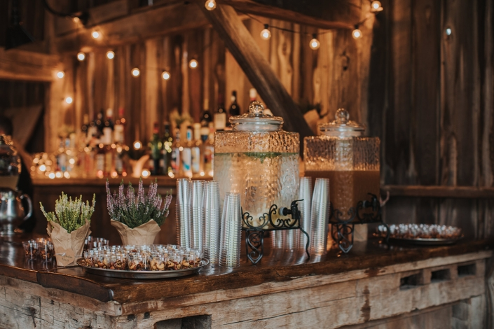 welcome beverage station - farm wedding