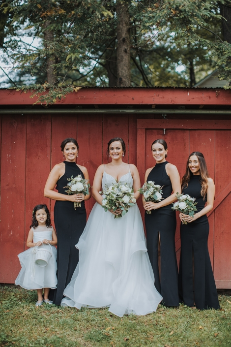 bridal party at crested hen farms