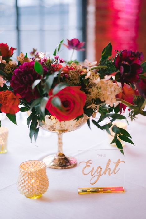 purple and pink centerpiece